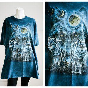 Wolf Moon Motif Tie Dye Teal Blue Oversized TShirt